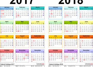 2017 To 2018 Calendar