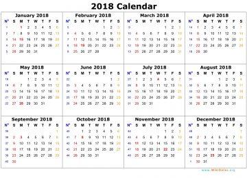 Calendar 2018 Temple