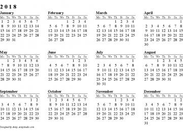 Great Calendar 2018