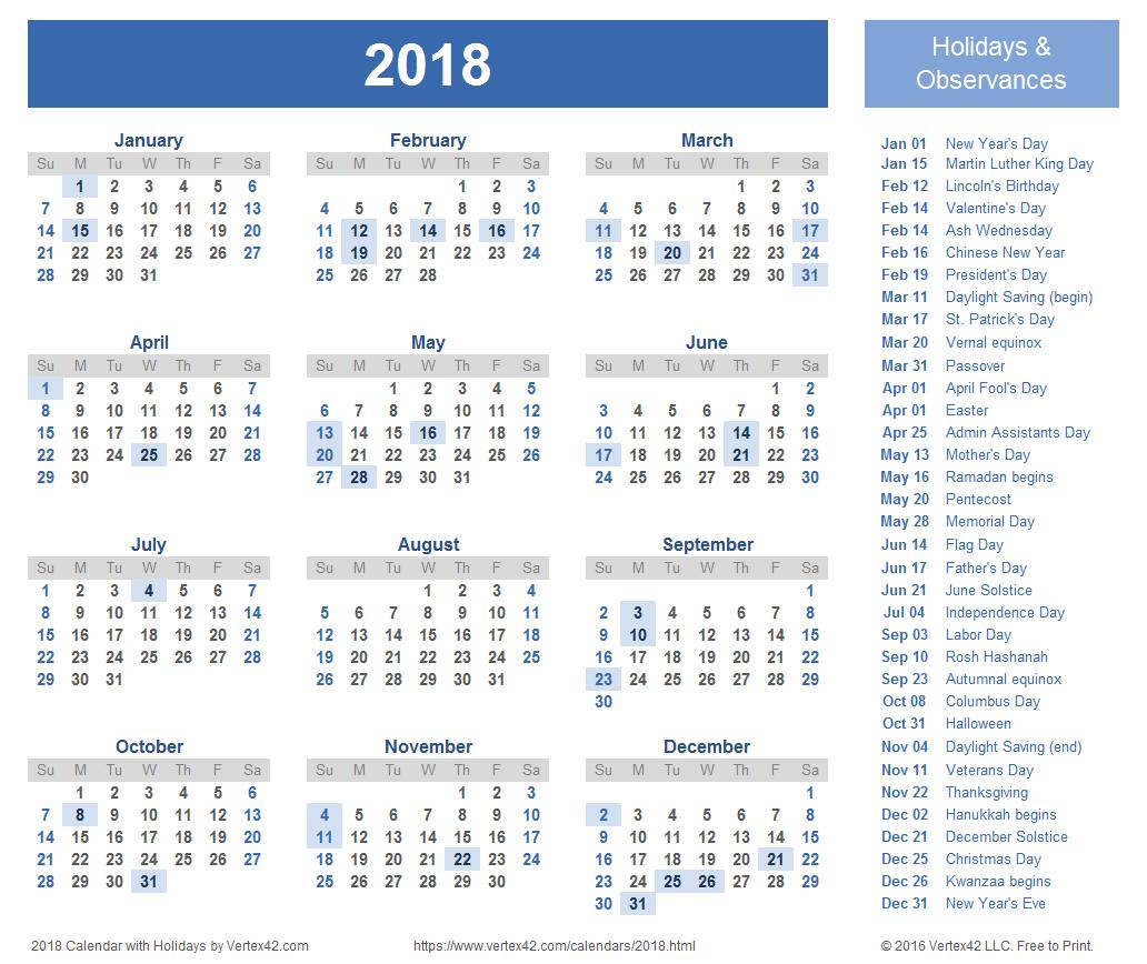 Stunning Calendar 2018