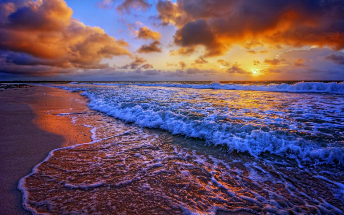 Nice Sea Waves Sunset