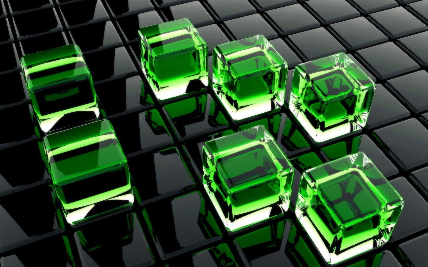 Green 3D Cubes